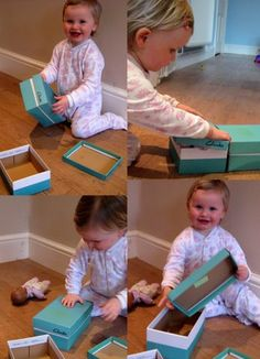 Endless fun with shoe boxes: treasure box. Hide treasures in side, stack, nest, turn into trains, beds, etc. @Cathy Ma James @ NurtureStore #objectpermanence