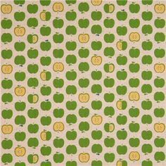 natural-colored fruit green apples Canvas fabric from Japan 4