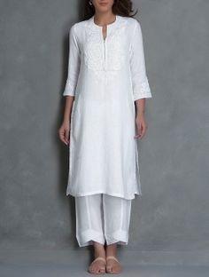 White Dori Embroidered Linen Kurta