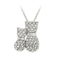 """Sterling Silver Cubic Zirconia Two Cats Pendant Necklace, 18"""" Amazon Curated Collection. $29.00. Made in Thailand. Save 67% Off!"""