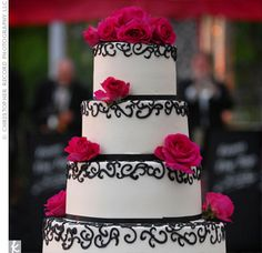 black white and hot pink wedding cake.. if it had some blue in it, it would be my dream cake!