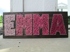 String Art Name Word Nail and String Art Wall door AJLyonsDesigns