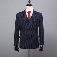 Double Breasted Blue Slim Fit  Mens Business Stripe Men Dress Suit  Wedding Grooms Jacket Pants Vest P02