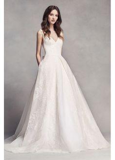 White by Vera Wang Pleated V-Neck Wedding Dress VW351318