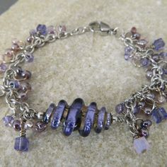 Purple and Lilac Luster Lampwork Charm Bracelet by WireNWhimsy