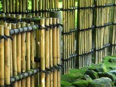 Bamboo fence in the Portland Japanese Garden in Portland, Oregon