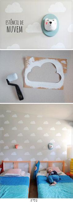 Stempeln statt tapezieren, und die Wolken machen sich bestimmt toll an der grauen Wand