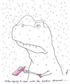 T rex trying to cope with the historic blizzard Puns Jokes, Jokes Pics, T Rex Cartoon, Killin Me Smalls, T Rex Humor, Dinosaur Funny, Make Me Smile, Lions, Funny Things