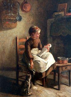 Michele Arnoux (French, 1833-1877) Young Mother. 1866 г.  parashutov - ДЕТИ В ЖИВОПИСИ (ВО ЧТО ИГРАЮТ ДЕТИ С КУКЛАМИ? Продолжение темы)