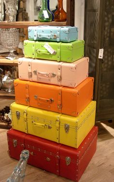 Great idea for storage of things not used all the time and it looks so cute for a kids room when suitcases are painted bright! Can be used with neat stickers too! Old suitcases are always available at junk shops.