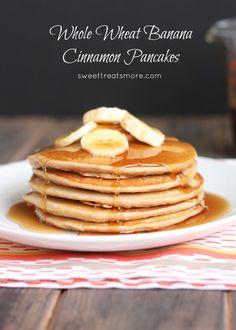 Whole wheat cinnamon banana pancakes ...yum!