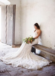 Breathtaking lace train: Photography : Jose Villa Photography | Wedding Dress : Inbal Dror | Floral Design : Kelly Kaufman | Styling + Design : Joy Proctor Design Read More on SMP: http://www.stylemepretty.com/2016/07/19/stylish-california-elopement-inspiration/