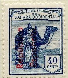 Spanish Sahara 1931 40c  Stamps of 1924 Overprinted in Blue