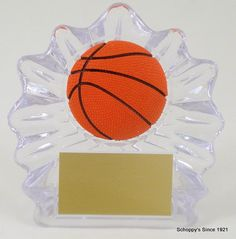 Basketball Shell Trophy with Relief Ball Logo Small