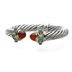 David Yurman Sterling Silver & 14K Gold 10mm Carnelian Renaissance Bracelet - $1,799.99