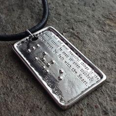 Helen Keller LOVE Stainless Steel Pendant - Jewelry in Braille