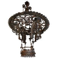 French Antique Wrought Iron Chandelier Pendant Lights Modern Steampunk Furniture