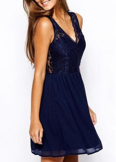 Fabulous Sleeveless Lace Splicing Navy A Line Dress