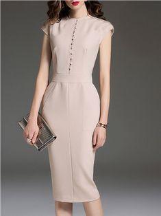 1046145dc7c Apricot Elegant Solid Sheath Crew Neck Midi Dress Cute Dresses
