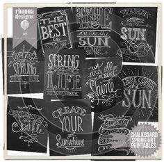 Rhonna DESIGNS:: 10 all new Chalkboard Cheer Spring Art Printables