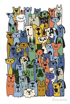 'hand drawn doodle funny dogs cat set' by Chris olivier Framed Prints, Canvas Prints, Dresses With Leggings, Wall Tapestry, Funny Dogs, Hand Drawn, Dog Cat, How To Draw Hands, Doodles