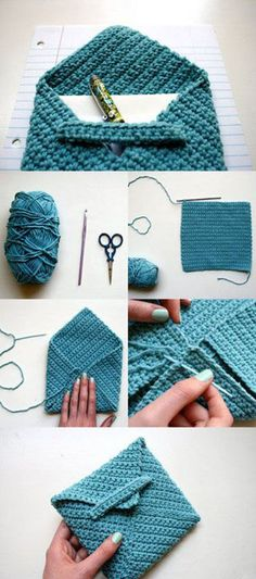Crochet Envelope Pattern from One Sheepish Girl This is my first pattern - hopefully I can share many more with you in the future! Crochet Diy, Crochet Crafts, Yarn Crafts, Diy Crafts, Simple Crochet, Knitting Projects, Crochet Projects, Diy Sac Pochette, Envelope Pattern