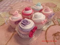 Sock cupcakes -- great idea for a cute & creative baby shower gift!
