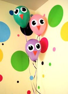 Design some owl face to stick on balloons