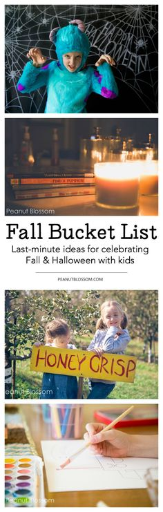 This awesome fall bucket list is the perfect last minute guide to Halloween with kids! Easy and quick ideas for celebrating that take just a few minutes to do. Craft ideas, recipes, fun book list, and great tips for taking Halloween costume pictures are all included!
