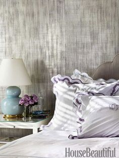 A Studio E Metallic Wallcovering, Inge, Gives The Master Bedroom Walls A  Silvery Luminosity