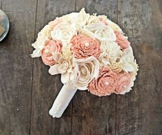 Natural Wedding Bouquet Large Ivory Blush by CuriousFloralCrafts, $114.00