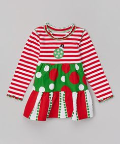 Take a look at the Red & Green Polka Dot Ruffle Top - Toddler & Girls on #zulily today!