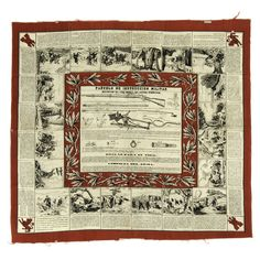A 19th century cloth handkerchief featuring a diagram and instructions for the Remington Model 1871 Military rolling block rifle, for use by the Spanish army. Instructional handkerchiefs were popular with European armies, in order to help train uneducated ...