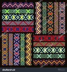 Trendy contemporary ethnic seamless ribbons and braid border pattern embroidery cross squares diamonds stripe Loom Bracelet Patterns, Peyote Stitch Patterns, Bead Loom Bracelets, Bead Loom Patterns, Weaving Patterns, Friendship Bracelet Patterns, Embroidery Bracelets, Bead Embroidery Jewelry, Beaded Jewelry Patterns