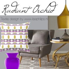 """mood board with pillow cover """"leaf radiant orchid"""" by www.ilsephilips.nl"""