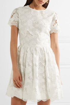 Alice Olivia - Karen Lace Mini Dress - Off-white - US12