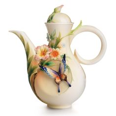 Franz Porcelain Fluttering Butterfly and Flower Collection Teapot