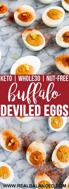 These Buffalo Deviled Eggs are the most flavorful keto-friendly and paleo-compliant appetizer! This recipe is keto, low-carb, paleo, Gluten Free Appetizers, Low Carb Appetizers, Appetizer Recipes, Paleo Recipes, Low Carb Recipes, Real Food Recipes, Tuna Recipes, Brunch, Deviled Eggs Recipe