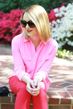Poor Little It Girl - cute way to style red jeans. Normally I hate pink and red together but I'm digging this.