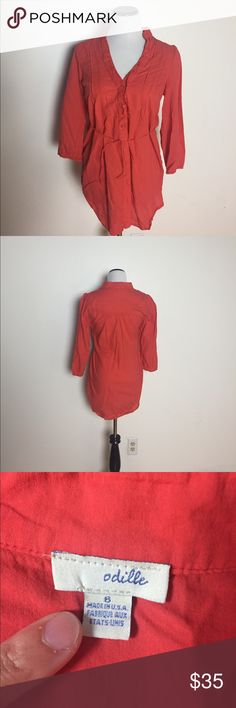 "Anthropologie Odille sz 6 orange tie waist tunic Anthropologie Odille brand sz 6 orange/red tie waist button down tunic. Ruffle details at neck. Shirt is 16"" across in shoulders, 29"" length, 34"" bust. Anthropologie Tops Tunics"