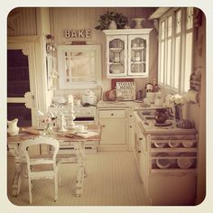 Shabby cottage kitchen  1:12 by It's a miniature life.