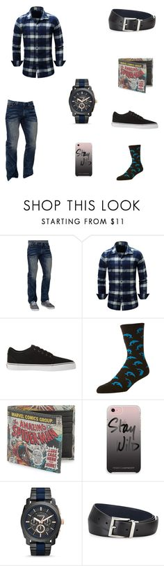 """Date night"" by austaylor116 ❤ liked on Polyvore featuring Affliction, Vans, Swell, Marvel, Rebecca Minkoff, FOSSIL, Prada, men's fashion and menswear"