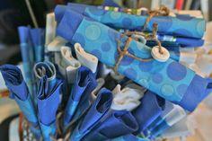 Ocean themed baby shower - life saver napkin rings.