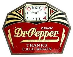 clocks & watches, America, A rare 'Drink Dr. Pepper' advertising clock. Reverse on glass panel within metal frame.