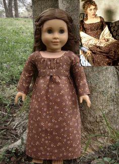 "Marianne Dashwood Brown Print Dress from Jane Austen's ""Sense & Sensibility"" for American Girl Dolls - by Morgan May @ Stardust Dolls - http://www.stardustdolls.com"