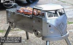buseque: The ultimate bbq Fire Pit Bbq, Metal Fire Pit, Fire Pits, Metal Projects, Welding Projects, Vw T1, Volkswagen, Combi Ww, Chicken Shed