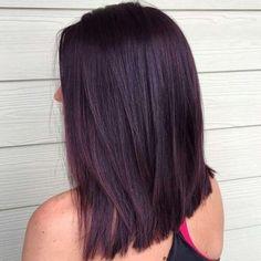 Hair color burgundy balayage black 44 Ideas for 2019 Black Cherry Hair Color, Cherry Hair Colors, Violet Hair Colors, Dark Purple Hair, Red Brown Hair, Hair Color For Black Hair, Color Black, Dark Red, Burgundy Hair