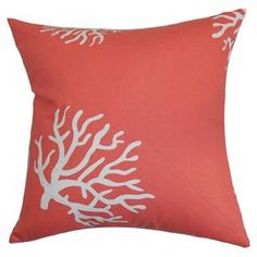 "Cotton throw pillow with a coral motif and down-feather fill. Made in the USA  Product: PillowConstruction Material: CottonColor: Coral and whiteFeatures:  Insert includedHidden zipper closureMade in Boston Dimensions: 18"" x 18""Cleaning and Care: Spot clean"