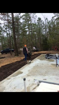 We put much around the slab to eliminate mud on concrete. We're using stained concrete