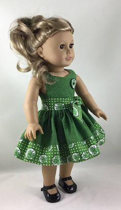 Green Celtic Knot & Shamrock Print Sleeveless Dress and Belt made to fit 18 inch dolls by ILuvmCreations on Etsy Sewing Doll Clothes, Girl Doll Clothes, Doll Clothes Patterns, Girl Dolls, Dolls Dolls, Doll Patterns, Dress Patterns, My American Girl Doll, American Doll Clothes